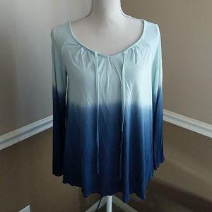Ombre blue ty dye tunic long sleeve top